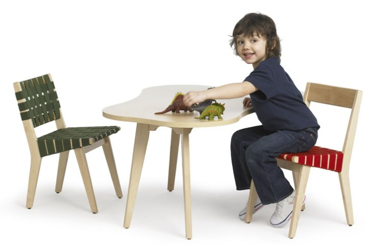 the junior version of Risom side chair & stool by Jens Risom